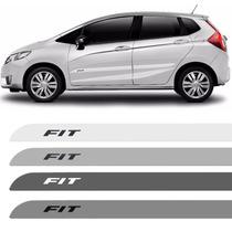 Jogo Friso Lateral Honda New Fit 2014 2015 Branco Prata Cinz