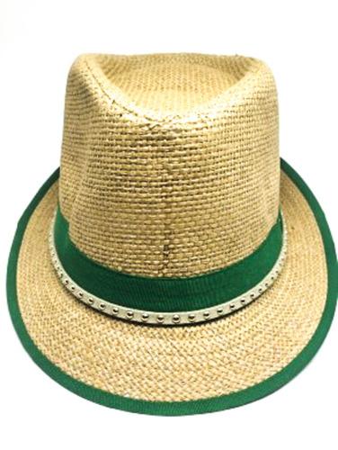 Chapéu Panamá De Palha Na Cor Caramelo Com Verde. R  9.9 badc33335b3