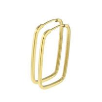 Brinco De Argola Quadrada Em Ouro 18k-750