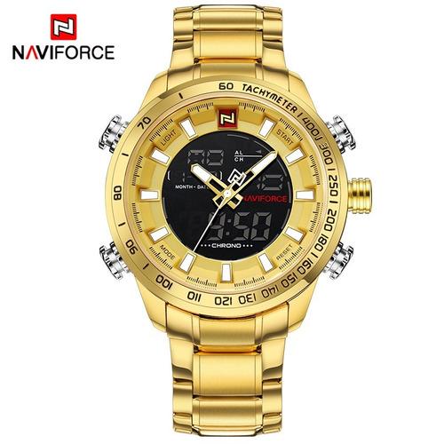 26a35a2d2ca Relogio Masculino Dourado Naviforce Nf9093m Original Barato - R  139 ...