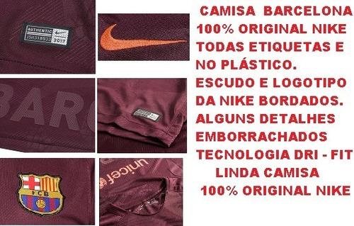 5e611dd866 Camisa Barcelona Vinho Nike 100% Original 2017   2018 - 28 - R  149 ...
