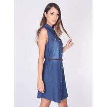 Vestido Jeans Com Cinto Feminino Oxus