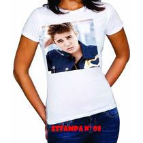 Babylook Feminina Com Estampas Do Justin Bieber