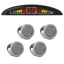 Sensor Estacionamento Ré 4 Sensores Prata Universal Display