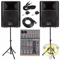 Kit Caixa Ativa Waldman 10 Pol + Mesa Phonic Am105fx + Trip