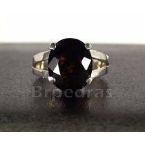 Anel Com Quartzo Negro Pedra Natural Prata 950 Maciça
