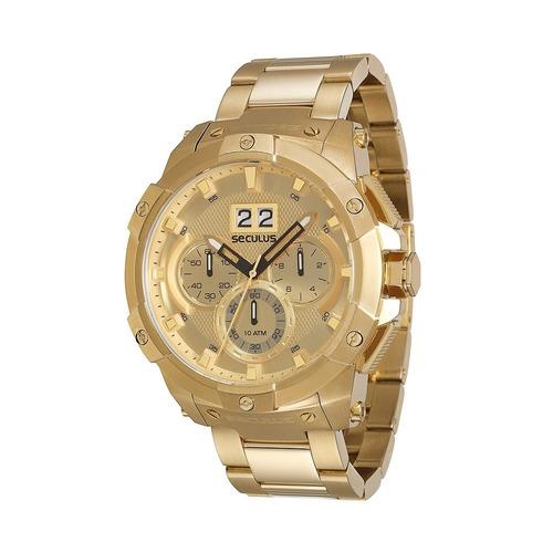 c3de795ee61 Relógio Seculus Masculino Cronógrafo Dourado 13008gpsvda6