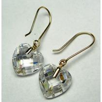 Brinco Cristal Coração Em Ouro 18k 750 Imperdivel 2.68 Gr