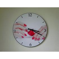 Relógio De Parede Em Vinil,esmalte,manicure,salão De Beleza