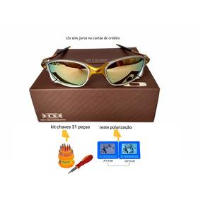 b30c5a1b9f2fb Oculos Double Xx 24k Dourada +teste+certificado+chavinhas
