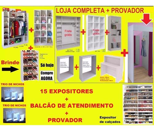 67cc0946f06c54 Expositor Loja Roupa + Provador + Balcão Atendimento = 17pç à venda ...
