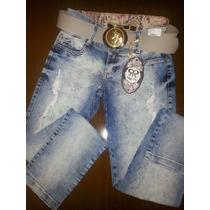 Calça Jeans Com Elastano, Detalhes Rasgado, Com Cinto