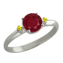 1.07 Ct Redondo Vermelho Do Rubi Canary Diamante Sterling Si