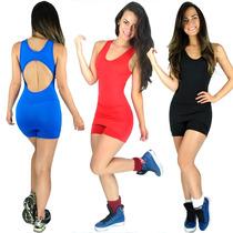 Macaquinho Short Saia Suplex Tapa Bumbum Fitness Academia