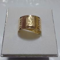 Anel Pai Nosso De Ouro 18k Com São Jorge