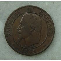 1952 França Napoleon Iii 1862 - 10 Centimes, 30mm Letra Bb