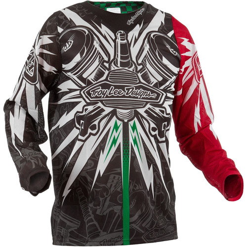Camisa Motocross Trilha Troy Lee Se Piston Preto / vermelho