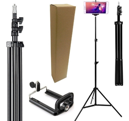Kit Youtuber Tripé 2,10m Câmera Celular Pedestal Ring Light