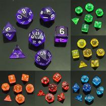 Conjunto 7 Dados Translucidos Rpg Dungeons And Dragons
