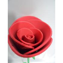 Artesanato/ Rosa Em E.v.a. Com Gliter/ Feito A Mão