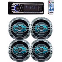 Kit Auto Falante Universal + Toca Rádio Carro Mp3 Player