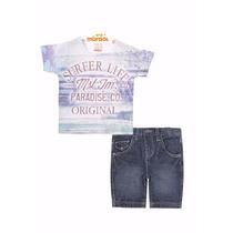 Conjunto Camiseta Manga Curta E Bermuda Jeans Marisol