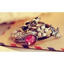 Lindo Conjunto 5 Anéis - Laço Folha Pássaro - Fashion !!!