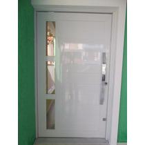 Porta Correr De Alumínio Branco 2,1 X 1 Mt Abrir Com Vidro