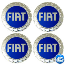 Logotipo Em Alumínio Fiat Azul Autocolante 55mm