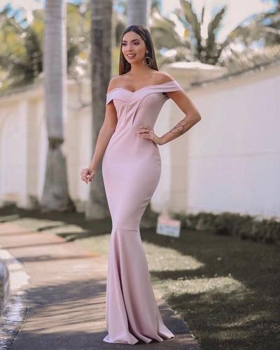 77d3a64b6 Vestido Longo Sereia Rosé Festa Madrinha Casamento Ombro