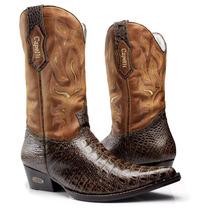 Bota Country Masculina-bico Fino-jacare-capelli Boots