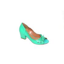 Peep Toe Em Couro Verde