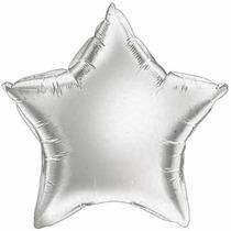 40 Balão Metalizado Estrela Prata - 22cm