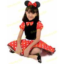 Vestido Infantil Da Minnie Fantasia Minie Luxo Com Shortinho