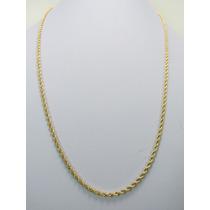 Corrente Cordão Baiano Masculino 60cm Em Ouro 18k-750