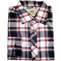 Camisa Social Masculino Xadrez Hollister Hlt01 Azul E Cinza