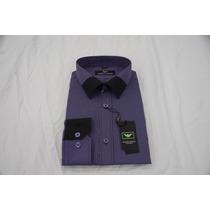 Camisa Social Masculina Armani , Cor Índigo Branco