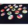 Botons Personalizados Com Bandeiras + Nome. Kit Com 10 Unid.