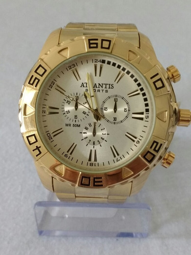 5a1347bb020 Relógio Masculino Aço Dourado Atlantis Original Cores+caixa - R  79 ...