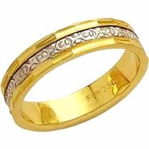 Aliança Casamento Bodas De Prata Trabalhada Ouro 18k-al 115