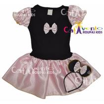 Fantasia Infantil Festa Minnie Rosa Tam 02