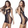Camisola Arrastão Lingerie Fantasia Sexy Dress Cod562