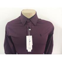 Camisa Social Masculina Polo, Cor Violeta Escuro