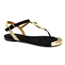 Sandalia Rasteira 116430 Bebece (17) - Preto/dourado