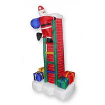 Papai Noel Com Escada Natal 2,10m De Altura Na Chamine