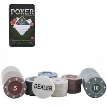 Kit Poker Profissional Super Luxo - Lata Com 100 Fichas