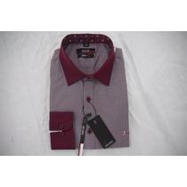 Camisa Social Masculina Aramis , Cor Púrpura Vermelho Escur