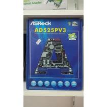 Novo - Placa Mãe Asrok Ad525pv3 C/ Cpu Integrada Intel Dual