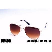 Óculos De Sol Estilo Aviador Unisex Uv400 Lente Marrom