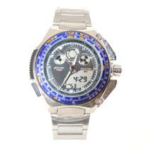 Relógio Masculino Citzem Aqualand Prata E Azul Série Titaniu